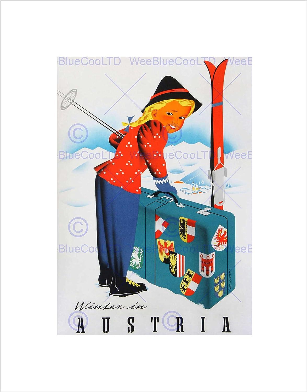 TRAVEL AUSTRIA ALPINE WINTER SPORT SKIING SNOW VINTAGE ADVERT ART PRINT B12X1492