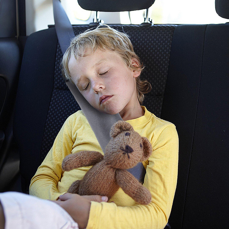 Schlafkissen Nackenst/ütze f/ür Kinder Pillow Schulterschutz Alintor Gurtpolster f/ür Kinder Auto Gurtschutz Sicherheitsgurt Grau /& Blau Sicherheits Schulterpolster 2er Kit