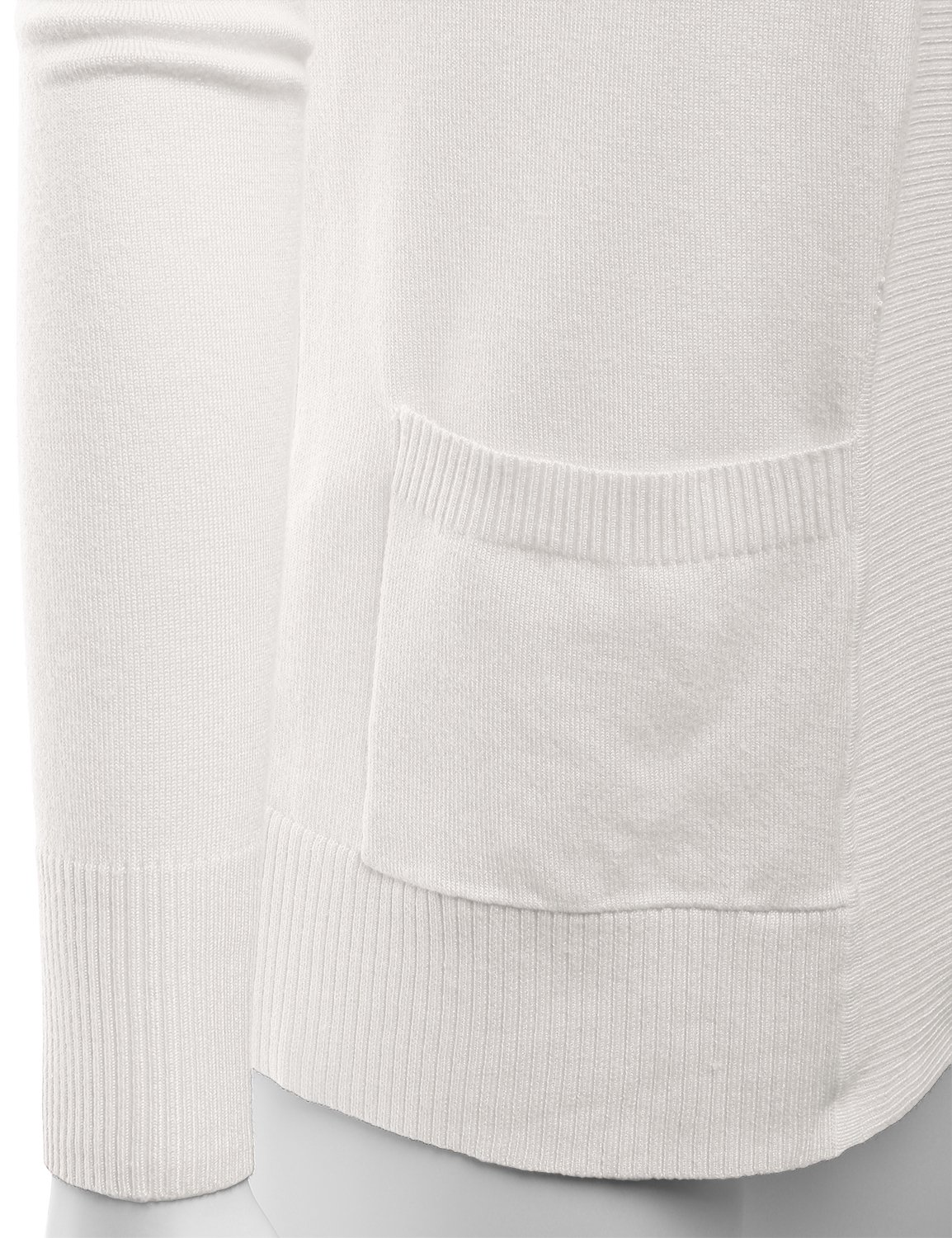 LALABEE Women's Open Front Pockets Knit Long Sleeve Sweater Cardigan-Ivory-L by LALABEE (Image #4)