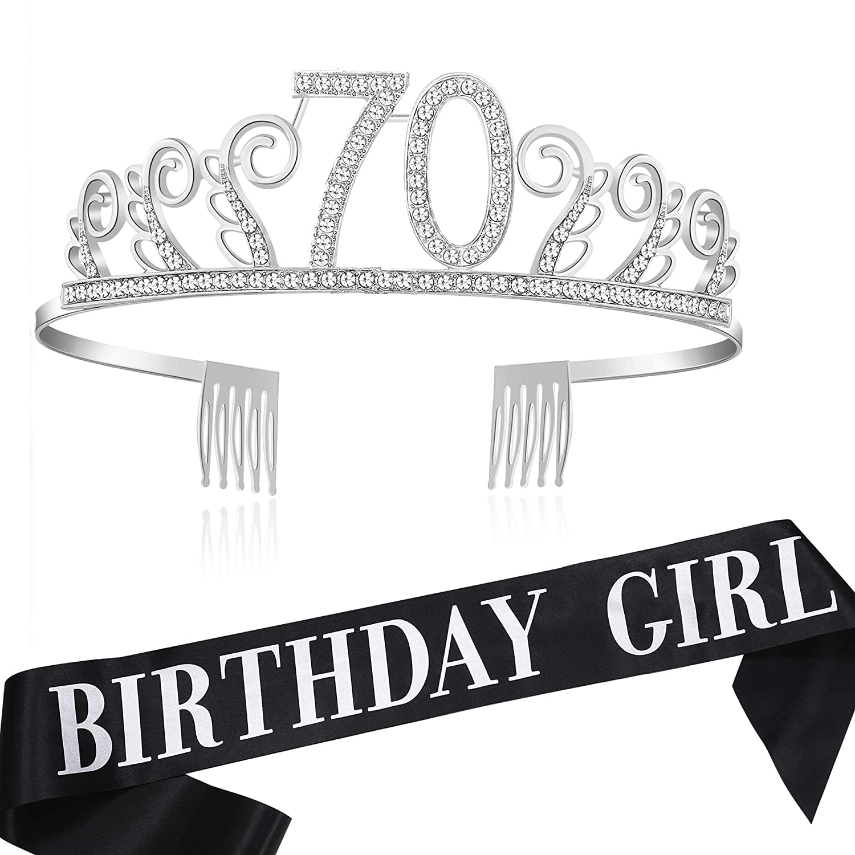 Coucoland - Corona de cristal para cumpleaños con banda de ...