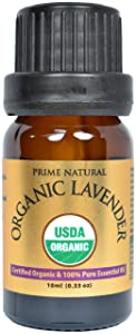 Prime Natural Organic Lavender Essential Oil 10ml /0.33oz - USDA Certified - Bulgarian - Pure Undiluted Therapeutic Grade for Aromatherapy Scents Diffuser