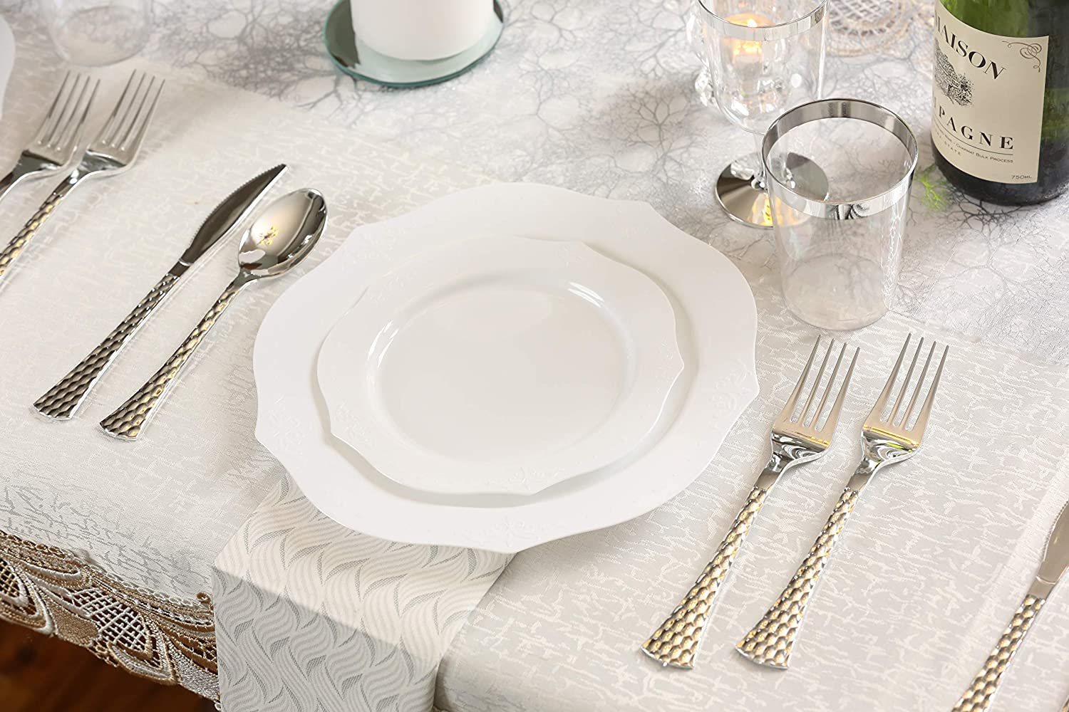 Wedding Plastic Dishes For 20 Guests Posh Setting Elegant Collection White Plastic Disposable Dinnerware Set Fancy Disposable Dinnerware 20 10.25 Dinner Plates and 20 7.25 Salad Plates