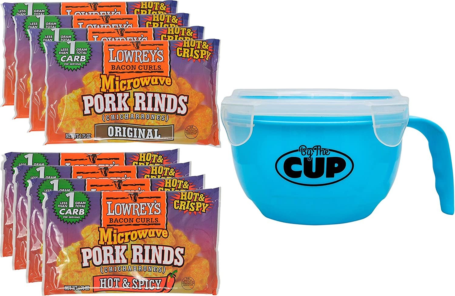 Lowrey's Bacon Curls Microwavable Pork Rinds Variety 8 Count, 4 of Each Original and Hot & Spicy with By The Cup Microwavable Bowl