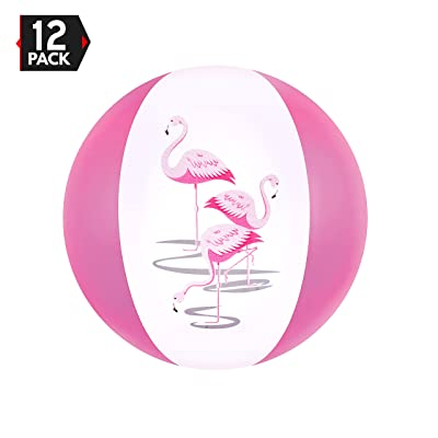 "16"" Pink Flamingo Party Pack Inflatable Beach Balls by Big Mo's Toys"