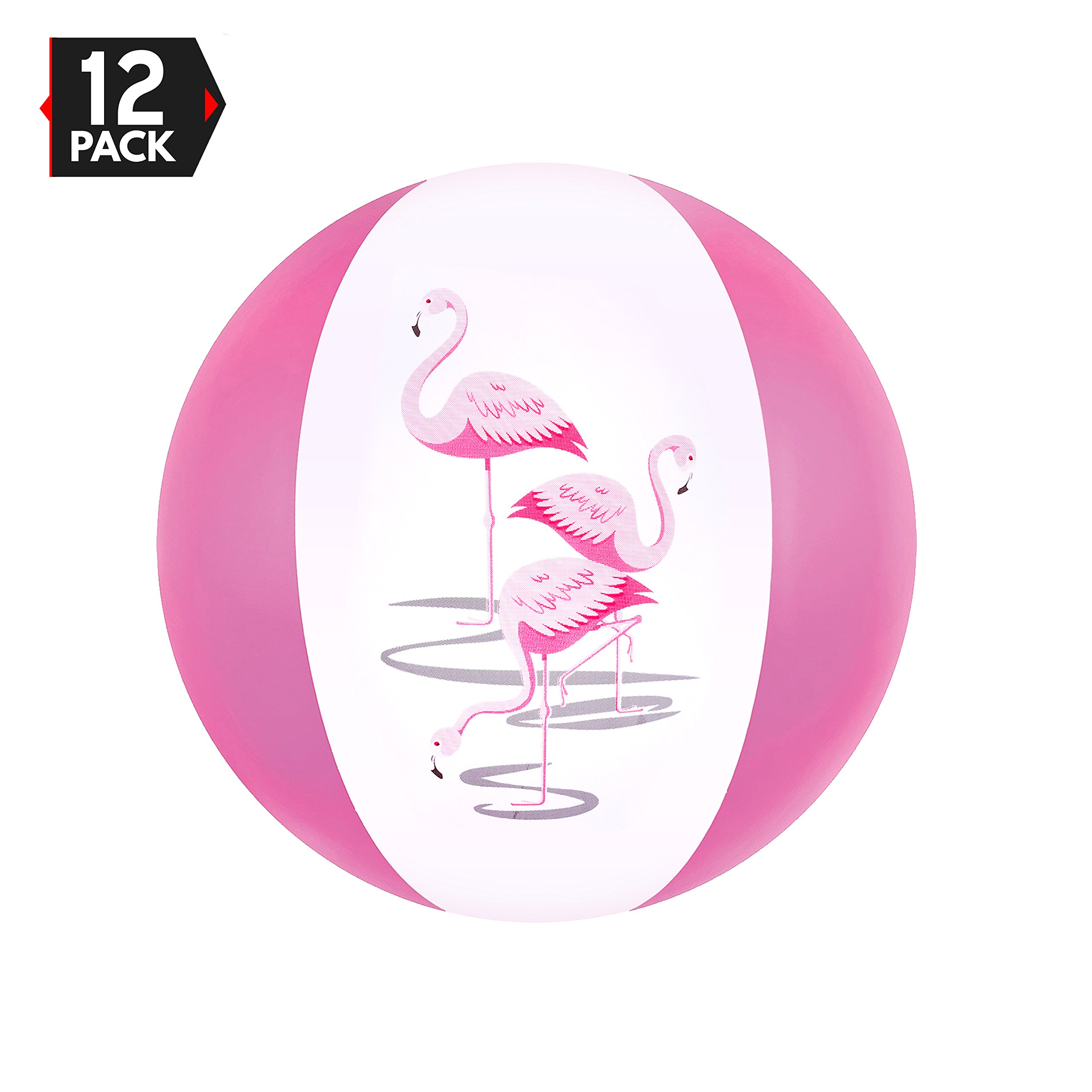 16'' Pink Flamingo Party Pack Inflatable Beach Balls by Big Mo's Toys by Big Mo's Toys