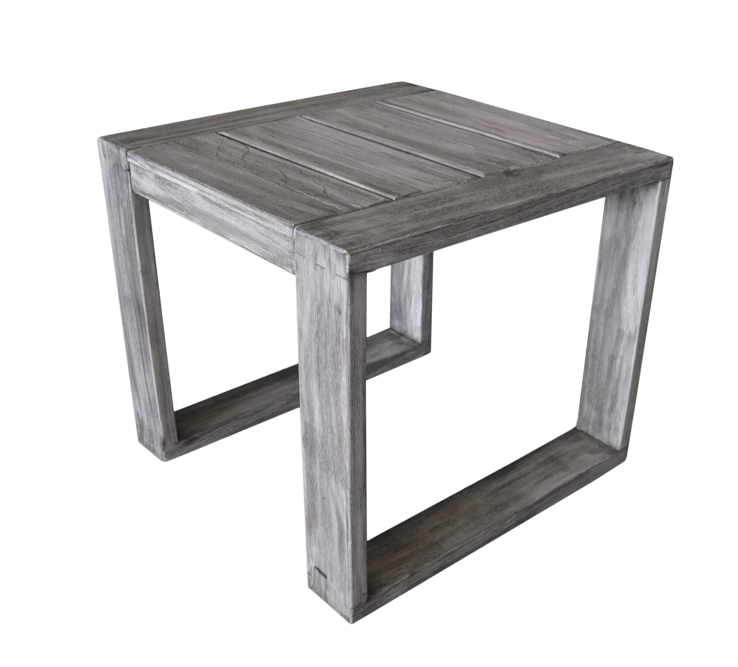 Courtyard Casual Driftwood Gray Teak Modern North Shore Outdoor Side Table - Great for any outdoor setting: patio, covered patio, deck, fire pit, outdoor kitchen, Poolside, lanai, gazebo, etc Fade and UV resistant and safe in full sun exposure Driftwood gray stain applied for a more natural patina look - patio-tables, patio-furniture, patio - 81C98 6cDYL -