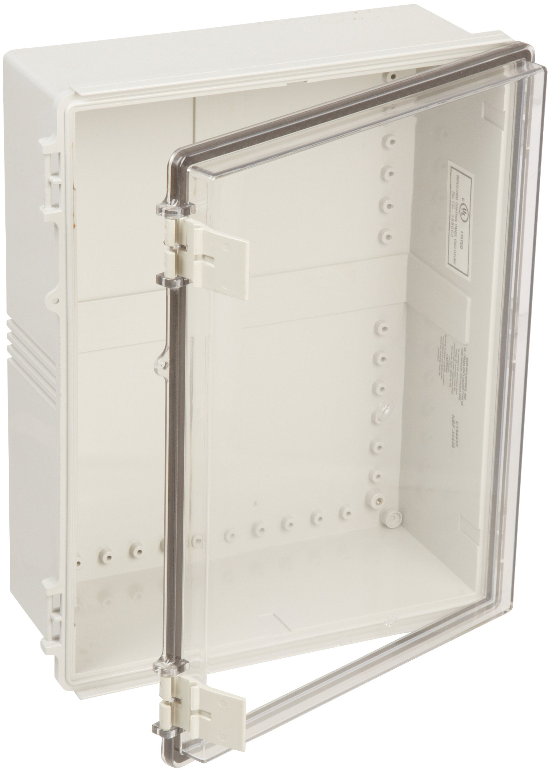 BUD Industries NBF-32428 Plastic Outdoor NEMA Economy Box with Clear Door, 17-45/64'' Length x 13-49/64'' Width x 6-9/32'' Height, Light Gray Finish by BUD Industries (Image #1)