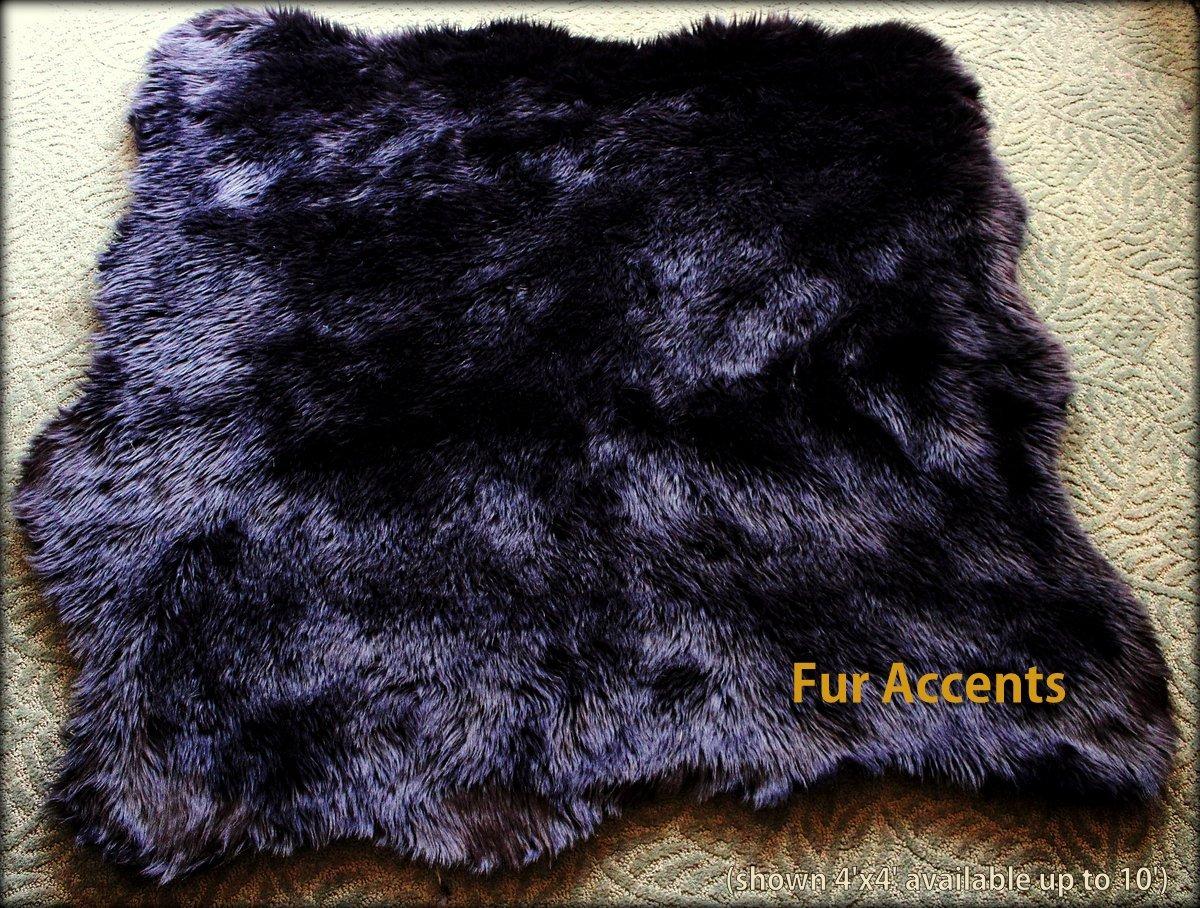 Fur Accents Faux Fur Sheepskin Accent Rug / Natural Sheepskin Pelt Shape Black 5'x7'
