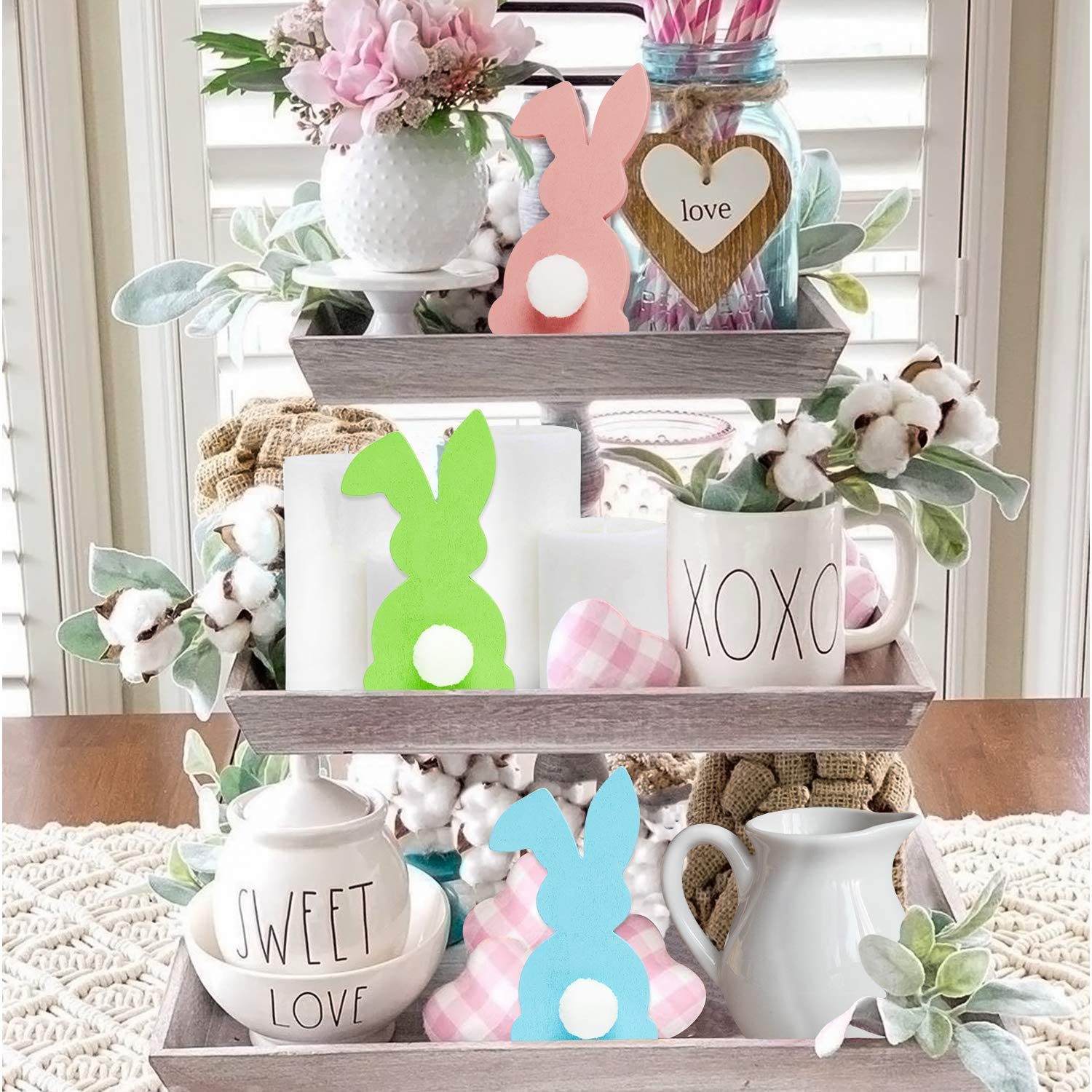 Easter Mini Wooden Bunny Treats Rolling Pin Farmhouse Style Home Decor Tiered Tray Decor