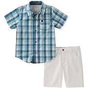 Calvin Klein Baby Boys 2 Pieces Shirt Shorts Set, Blue/White, 3-6 Months