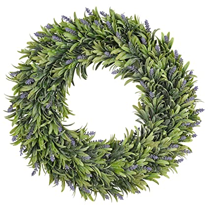 Amazon Com Tingor Artificial Lavender Wreath 17 Green Leaves