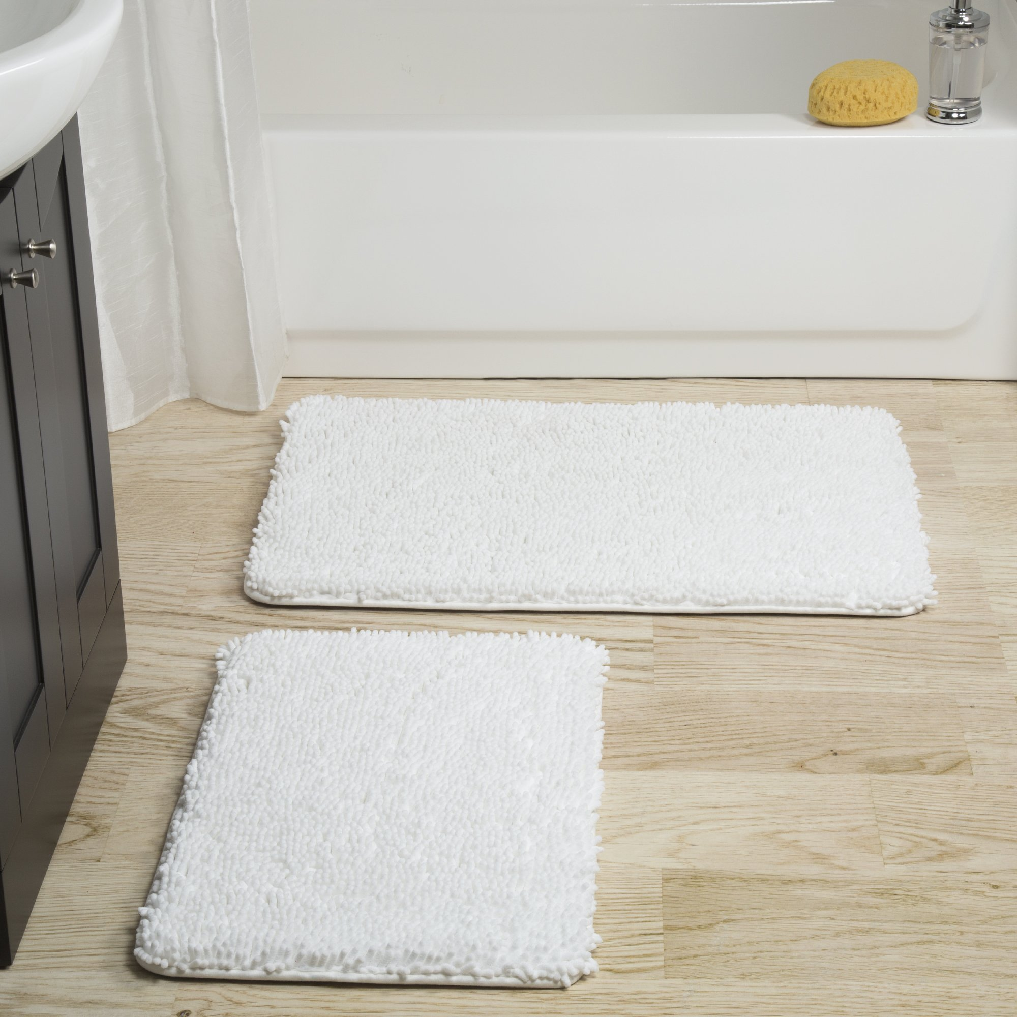 Bedford Home 2 Piece Memory Foam Shag Bath Mat - White