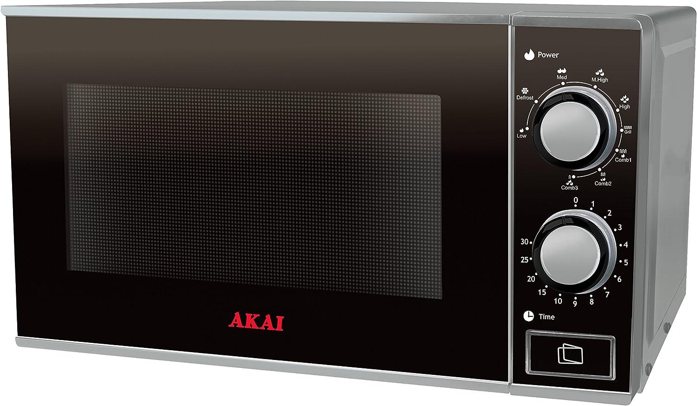 Akai AKMW230 - Microondas (Sobre el rango, Microondas con grill, 23 L, 900 W, Giratorio, Negro, Gris)