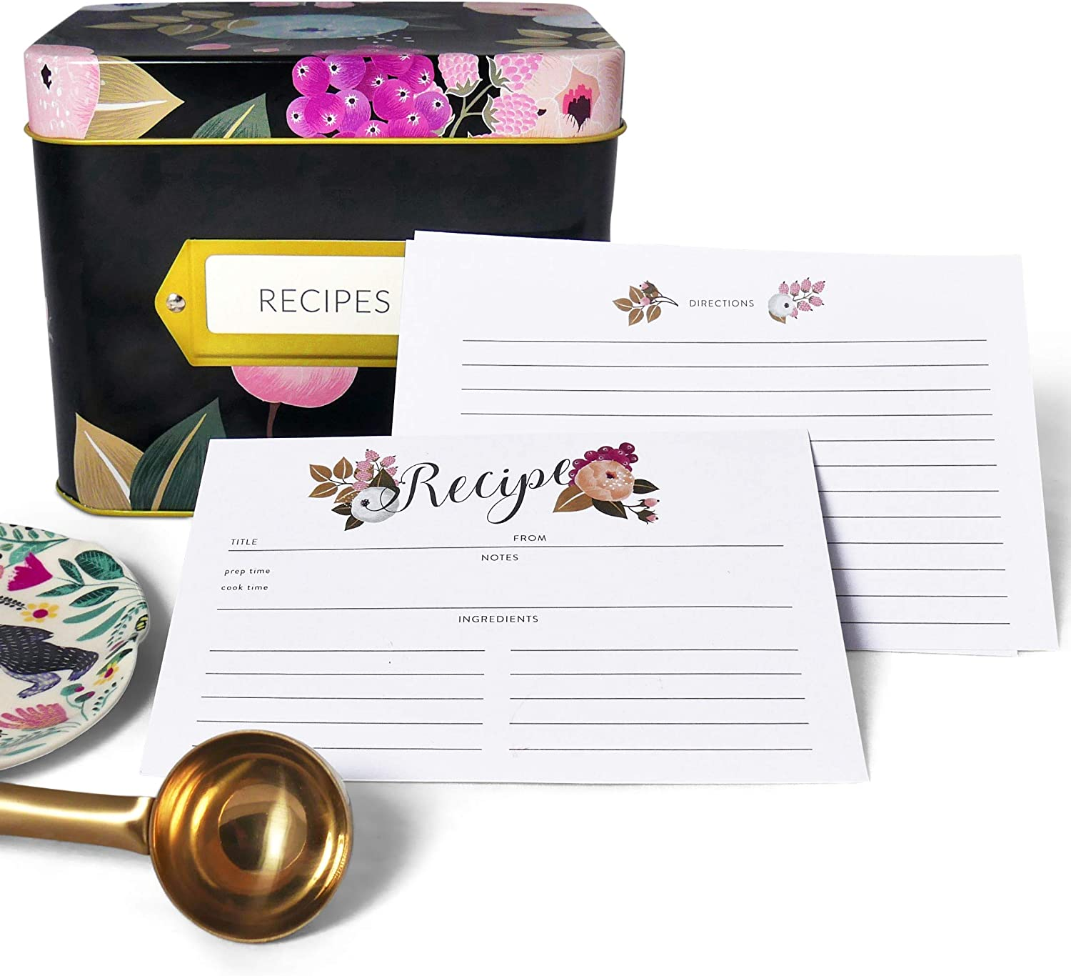 Recipe Box with 24 Cards /& 12 Dividers by Polite Society Black Tin