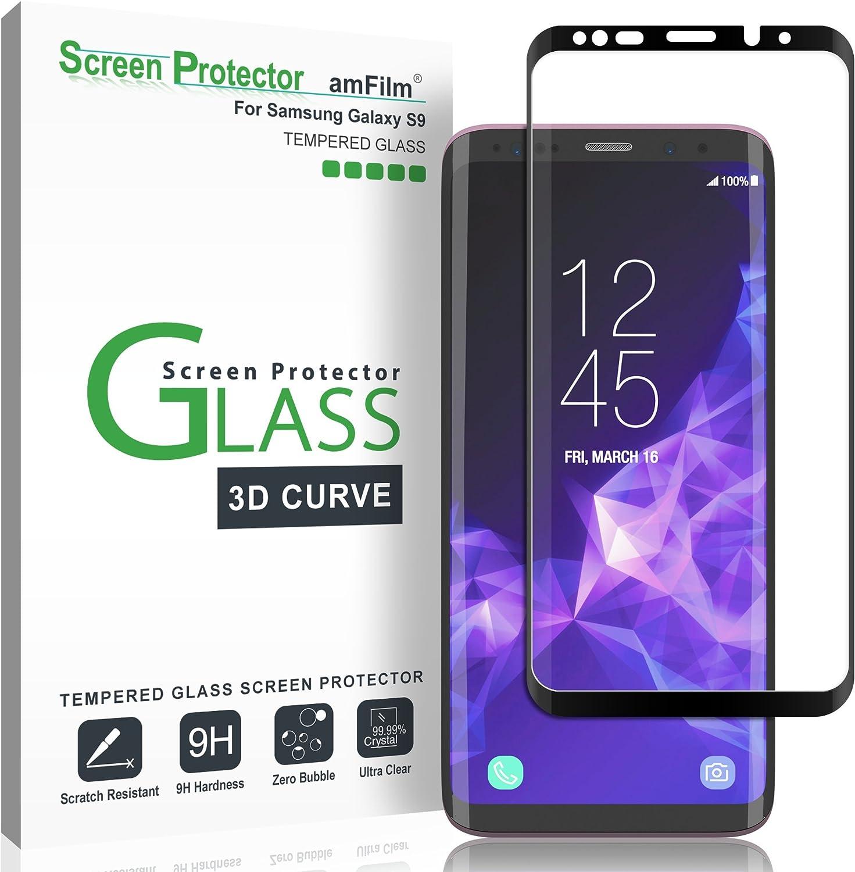 amFilm Galaxy S9 Protector Pantalla, Anti-Burbujas (3D Curvo ...