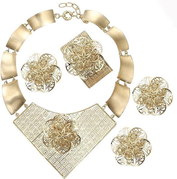 BTSETS Women Jewelry Sets Big Flower Wedding Fashion Choker Necklace Party  Costume Bridal Jewelry 82e7e1d530a8