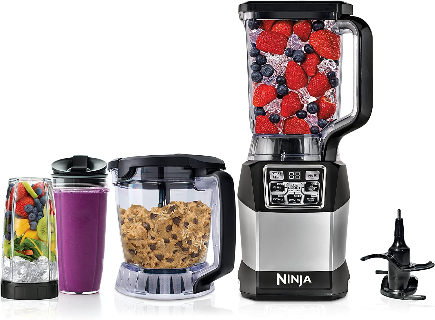 Ninja Blender and Food Processor System with 1200-Watt Auto-iQ Base, 72oz Pitcher, 40oz Blend & Prep Bowl, Dough Tool and (2) 24oz Cups with Lids (BL494),Black