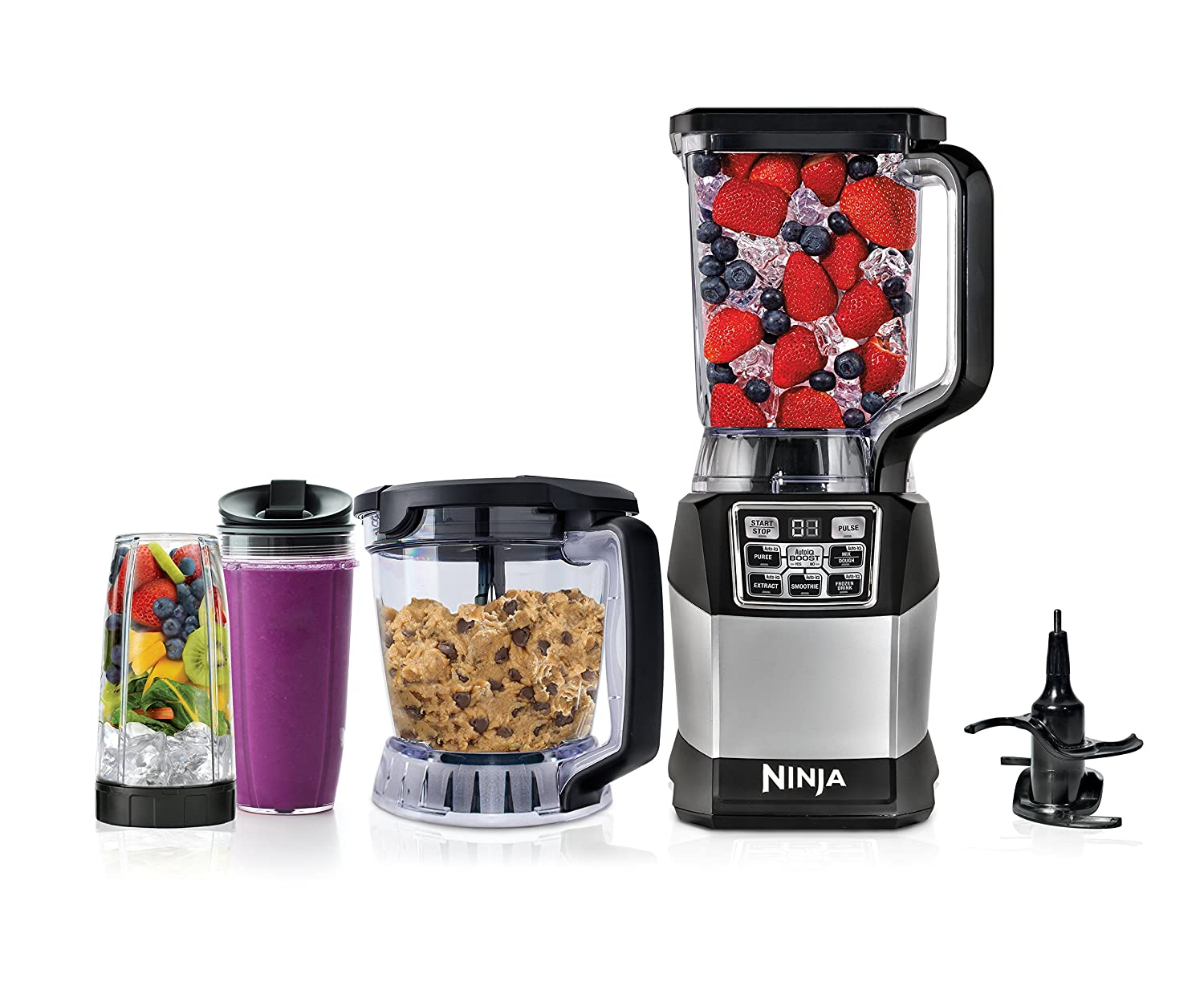 amazoncom ninja blender and food processor system with 1200 watt auto iq base 72oz pitcher 40oz blend prep bowl dough tool and 2 24oz cups with - Ninja Kitchen System