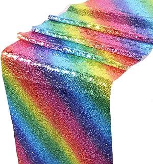 BESTOYARD Rainbow Sequin Table Runner De Mariage d'anniversaire Dîner Partie Table Décoration Arc-en-Chemin de Table 12 x 108 Pouces