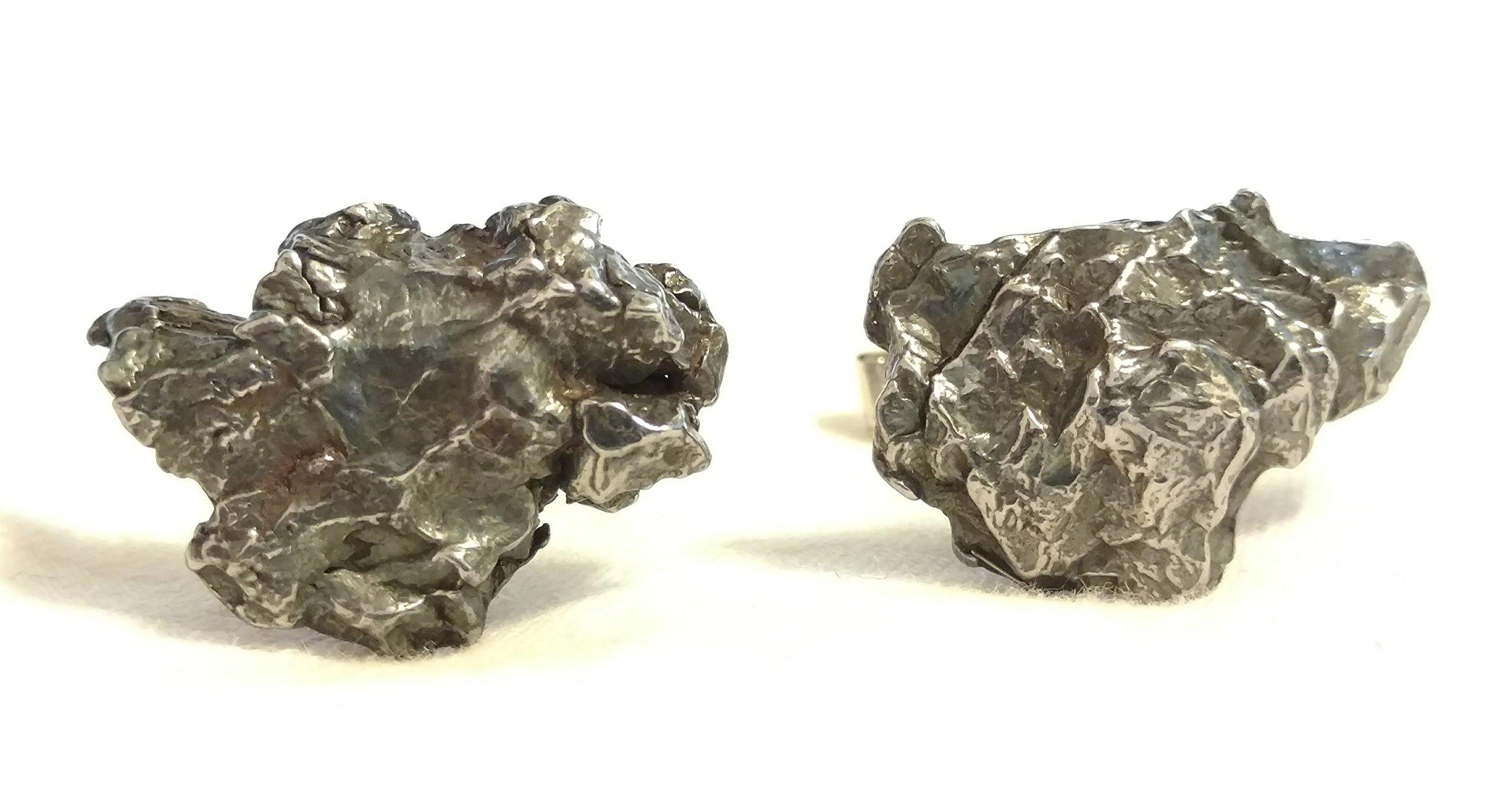 METEORITE Cufflinks, Sterling Silver & Campo Del Cielo Meteorite Fragments (B)
