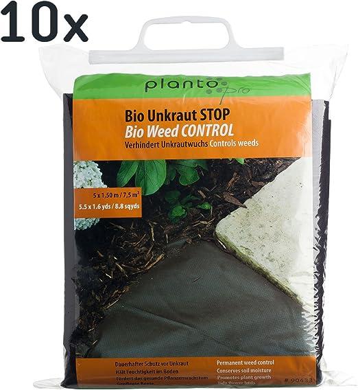Unbekannt Planto 90433 Bio Malas Hierbas de Parada Planto Pro Vellón con Rayos estabilización, Firme ecológico Malas Hierbas (Grosor 70 g/m²) en Color marrón Oscuro, (7, 5 m²=5 x 1,