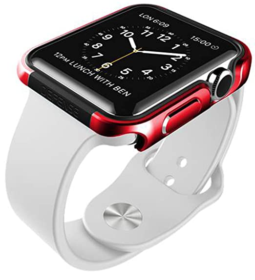 X-Doria 42mm Apple Watch Case (Defense Edge) Premium Aluminum and TPU Bumper Frame (Metallic Red) - Compatible with Apple Watch Series 1, Series 2 and Nike+