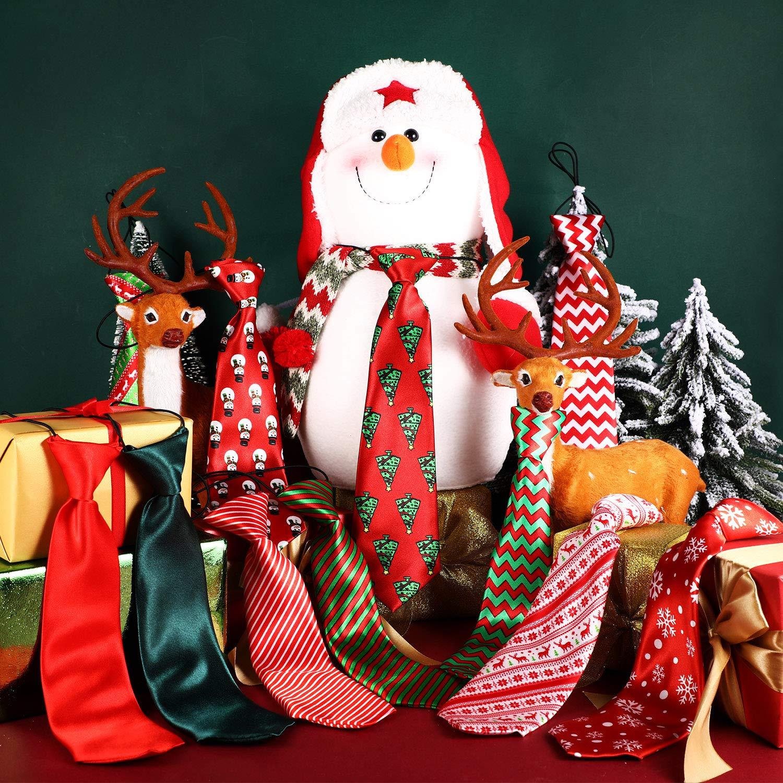 Syhood 12 Piezas Corbatas de Mascota Grande de Navidad Corbatas de Perro de Navidad Corbatas con Patrones de Mu/ñeco de Nieve Copo de Nieve para Fiesta Navidad Accesorios de Aseo de Perros