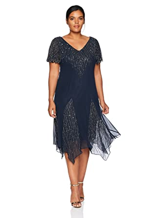 1920s Plus Size Flapper Dresses, Gatsby Dresses, Flapper Costumes J Kara Womens Plus Size Short Beaded Dress $168.00 AT vintagedancer.com