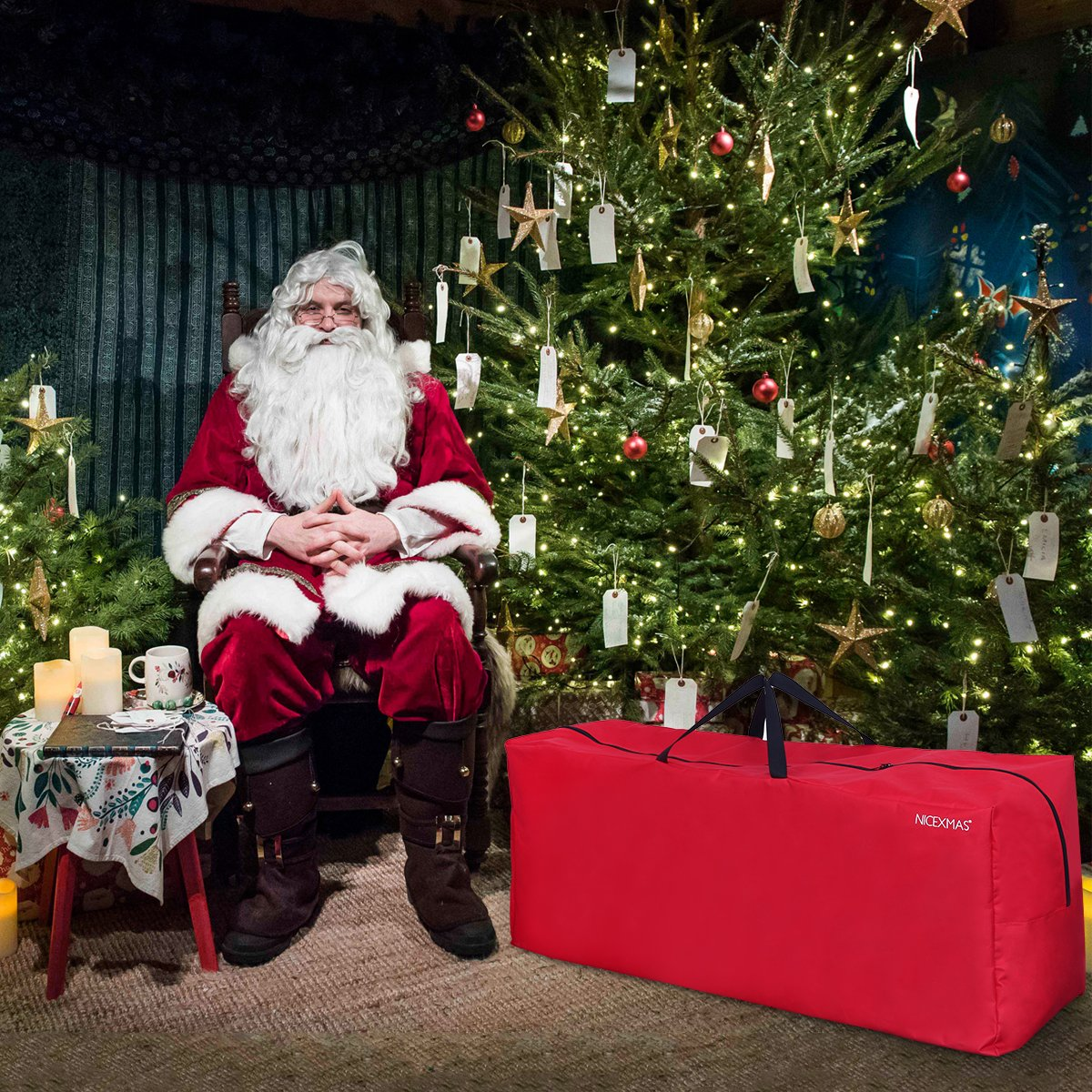 BESTOMZ Bolsa de almacenamiento para /árboles de Navidad con asa de transporte con cremallera Bolsa para /árbol de adornos navide/ños con guirnaldas de luces rojo