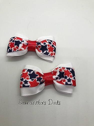 aa581526feb7 Amazon.com  Handmade Red White And Blue Girls Hair Bow Set