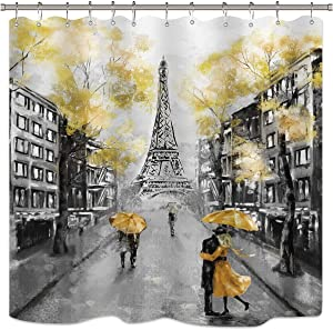 Riyidecor Paris Shower Curtain Black Yellow Eiffel Tower Oil Painting Couple European City Landscape France Modern Fabric Waterproof Bathroom Home Decor 72x72 Inch 12 Plastic Shower Hooks