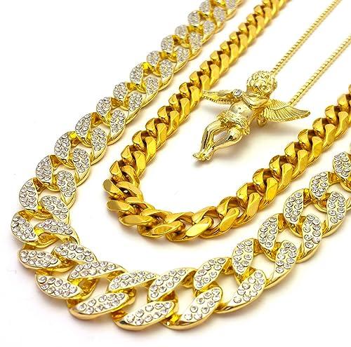 Amazon.com: Iced Out Lab Diamond acabado dorado, Miami ...