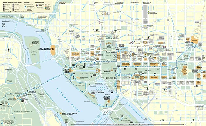 Amazon Com Wall Map Of Washington Dc Capitol Museums And