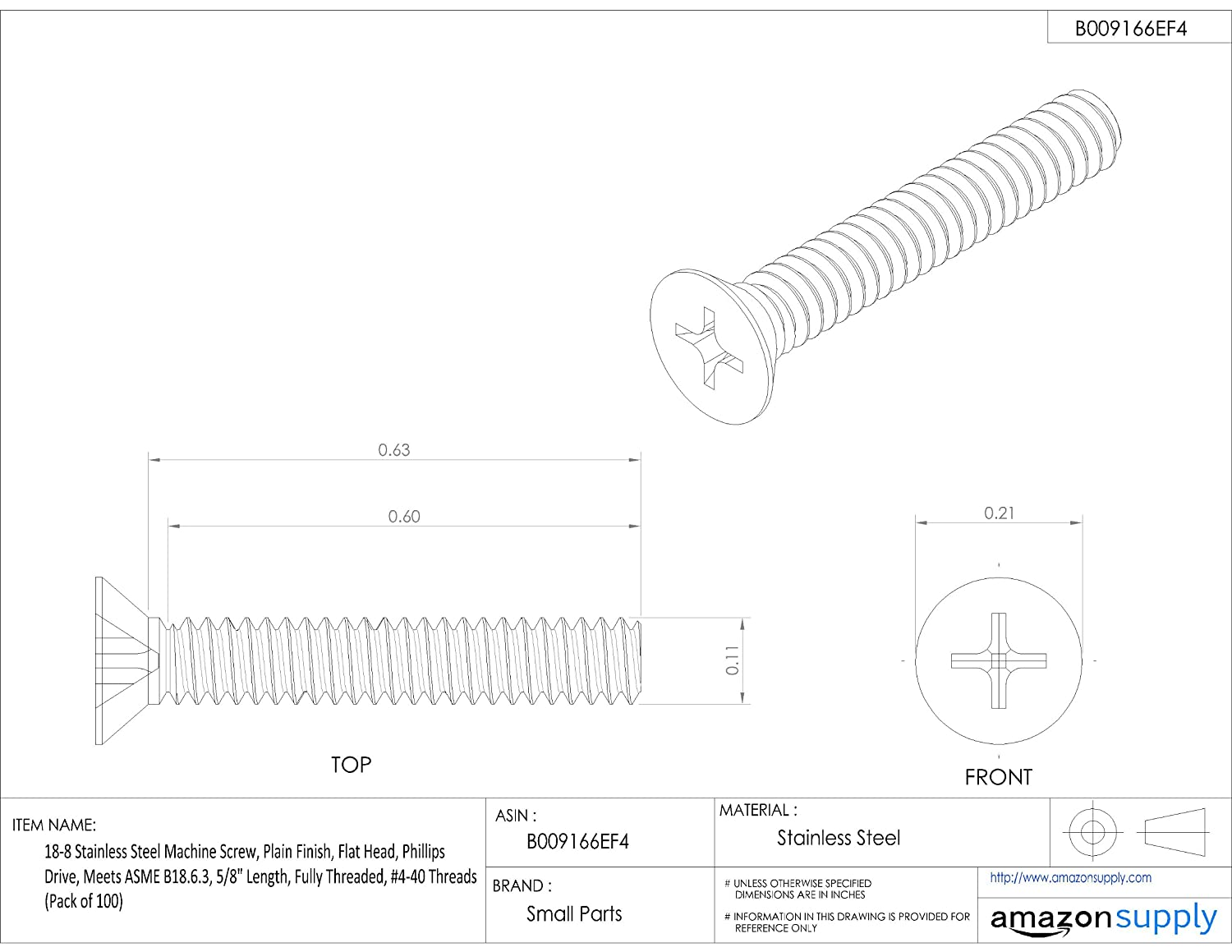 Fully Threaded Flat Head Phillips Drive Pack of 100 Meets ASME B18.6.3 18-8 Stainless Steel Machine Screw #4-40 UNC Threads Plain Finish 5//8 Length 5//8 Length Small Parts