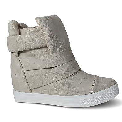 5824efd3e4 Schuhtraum Damen Sneakers Keilabsatz Wedge High Heels High Top Turnschuhe  Stiefeletten Boots ST75 (36,