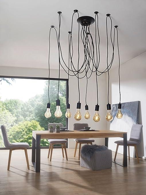 ... Retro Lampe Mit 8 Pendel | Hängelampe E27 | Vintage Pendellampe Aus  Metall | Hängeleuchte Höhenverstellbar Loft Kronleuchter: Amazon.de:  Beleuchtung