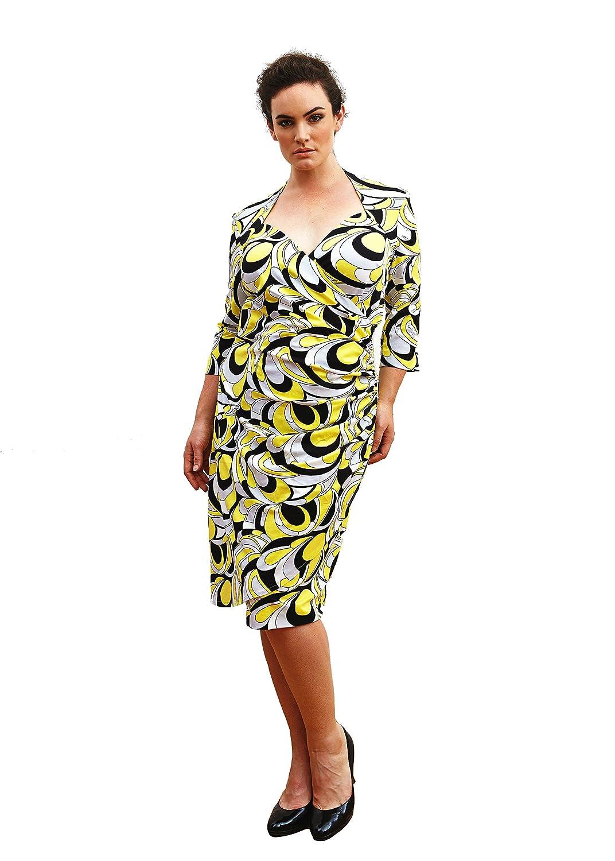 Wrap dress plus size ?Honey? (Sizes 16-26). Sweetheart neckline 3/4 sleeve dress knee length. Made in the UK by Dea London - UK's manufacturer of Designer plus size dresses.