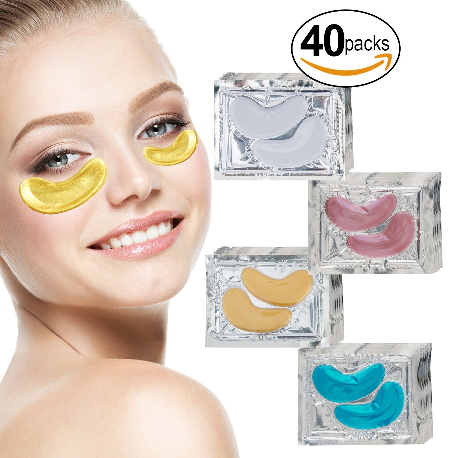 VAGA Collagen Eye Masks Anti Aging Facial Treatments Set of 40 Pairs with 24K Gold, Milk White, Blue Algae and Red Wine Gel Crystal Pads. For Hydration, Wrinkles, Dark Circles and Puffiness Removal