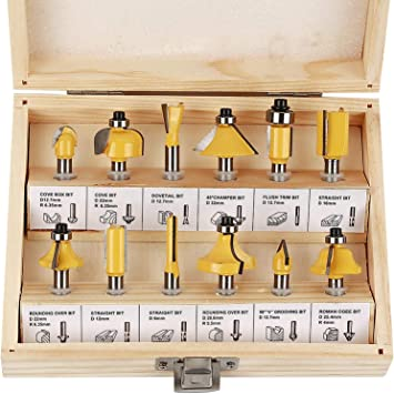 "Wood Case 12 Pc Tungsten Carbide Router Bit Wood Tool Bits Set 1//4/"" Shank"