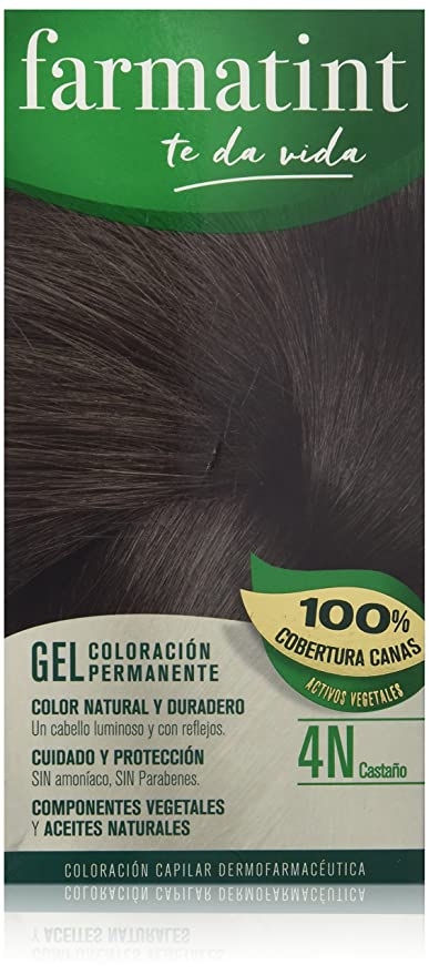 Farmatint Gel 4N Castaño. Tinte permanente. Cabello natural y color duradero. Sin amoníaco