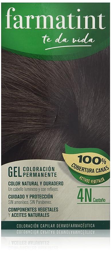 Farmatint Gel 4N Castaño. Tinte permanente. Cabello natural y color duradero. Sin amoníaco