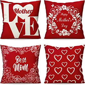 jumping meters Mothers Day Decorations Throw Pillow Covers 18x18 inch,Mothers Day Mom Gifts for Grandma Mom from Daughters,Farmhouse Home Decor Decorative Cushion Cover 4 PCS