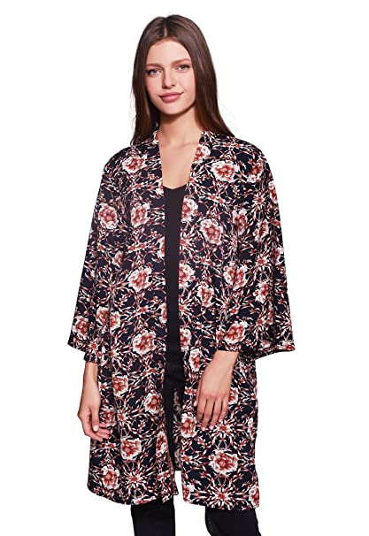 3f3cc1bcd Lulla Collection Women's 100% Viscose Cover up Kimono Comfortable and Super  Soft (Red Floral Print) at Amazon Women's Clothing store: