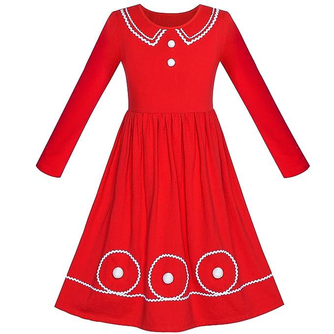 377b8aa1a6d8 Sunny Fashion Girls Dress Christmas Long Sleeve Cotton Maxi Dress Size 6