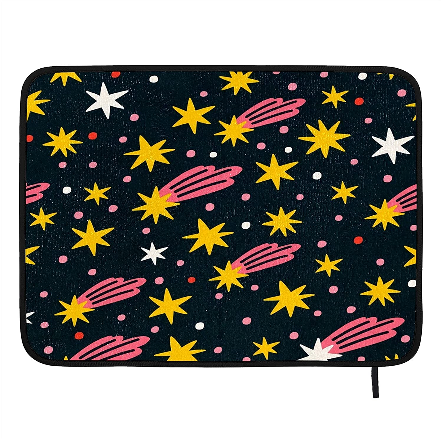 Absorbent Dish Drying Mat Night Sky Stars Kitchen Counter Mat Protector Heat Resistant Drying Pad Protector Suitable for Kitchen Sink Dining Table decor 24x18 inch