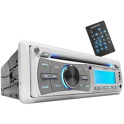 Gravity MGR-208BT 300W Single Din Marine Boat/Yatch Receiver/CD/SD/USB/Aux/AF/FM/MP3 Player - Work with Bluetooth: Car Electronics