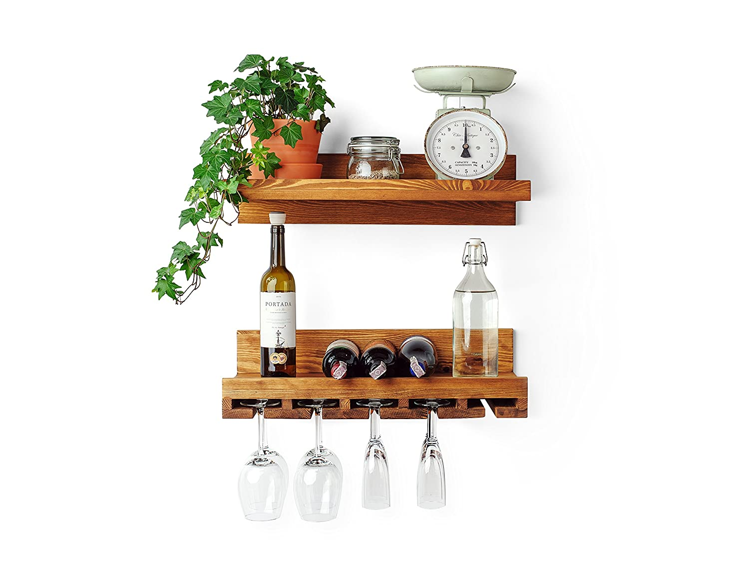Wall Mounted Wine Rack Shelf And Glass Holder Rustic Solid Pine