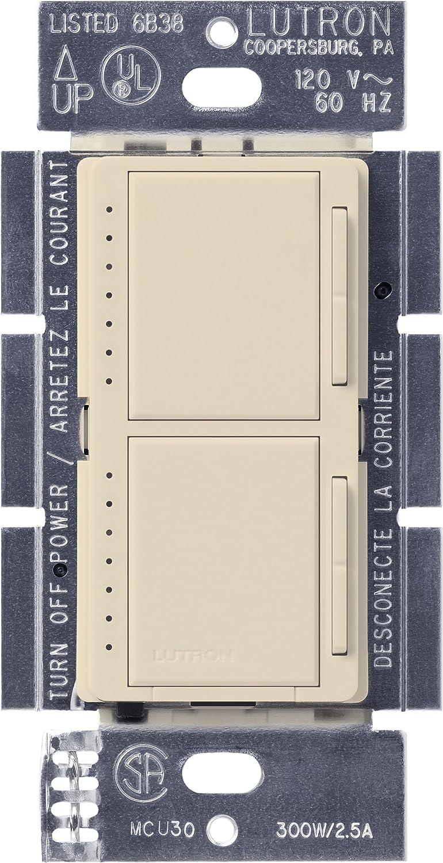 Lutron MA-L3L3-ES Maestro 300 Watt (top)/300 Watt (bottom) Single Pole Dual Dimmer, Eggshell by Lutron B0016OZ94G エッグシェル エッグシェル