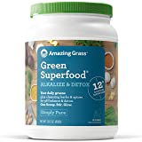 Amazing Grass Green Superfood Alkalize & Detox Organic Powder with Wheat Grass and Greens, Flavor: Simply Pure, 100 Servings