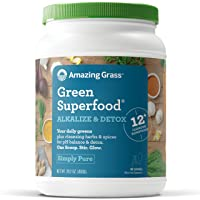 Amazing Grass Green Superfood Alkalize & Detox Organic Plant Based Powder with Wheat Grass and Greens, Flavor: Simply Pure, 100 Servings, Active Probiotic Cultures